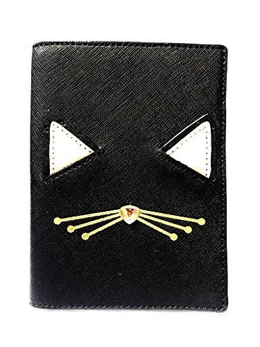 Kate Spade Imogene Leather Passport Holder Case, Multi (Jazz Things Up Cat Black-926)