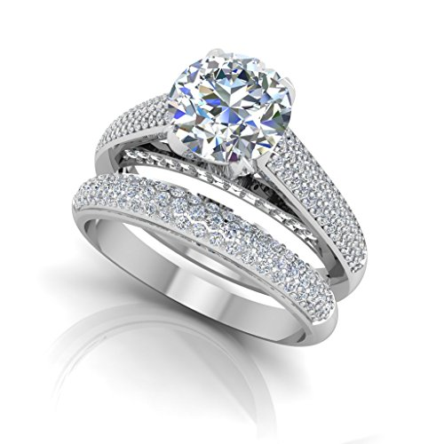 1,54ct Rundschliff Band Set Lab Created Diamant Verlobungsring Ringe für Frau 14K Solid Weiß Gold Gr. I, J, K L M N O P Q R S - Forever Diamond