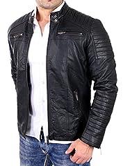 Idea Regalo - Redbridge Giacca da uomo, stile biker, in pelle vera e cotone con elementi trapuntati Schwarz - Kunstleder S