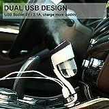 BrainWizz®–Luftbefeuchter und Diffusor Aromatherapie ätherisches Öl 50ml–Ladegerät Auto Adapter Zigarettenanzünder Dual USB–Farbe Schwarz