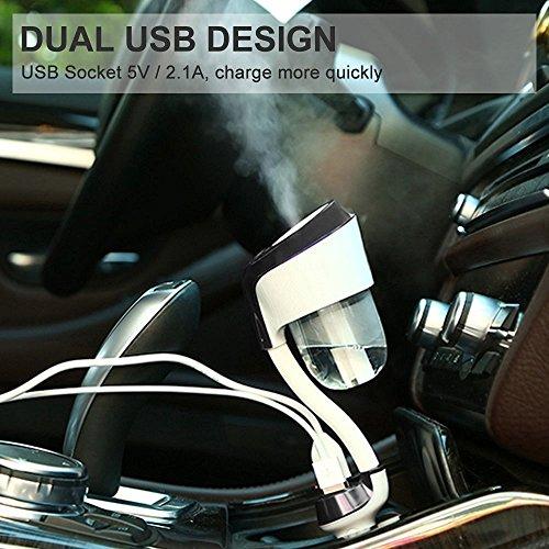 BrainWizz - Humidificateur et Diffuseur Aromathérapie Huile Essentielle 50ml - Chargeur Voiture Adaptateur Allume-cigare Double USB - Couleur Noire