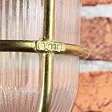 Premium Außenwandleuchte Messing echt rostfrei rustikal massiv Rillenglas Käfigschirm Wandlampe Terrasse Hauswand - 5