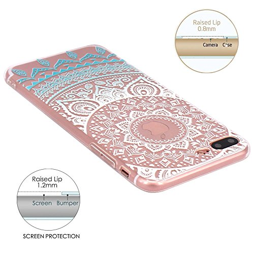iPhone 7 Plus Hülle, JIAXIUFEN TPU Silikon Schutz Handy Hülle Handytasche HandyHülle Etui Schale Schutzhülle Case Cover Tasche Etui für iPhone 7 Plus (5,5 Zoll) - Pink White Tribal Mandala Dream Catch Color13