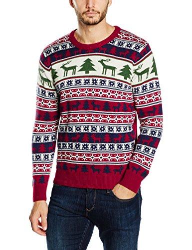 NIZZIN Elm, Suéter de Navidad Unisex, Rojo (Red), Large