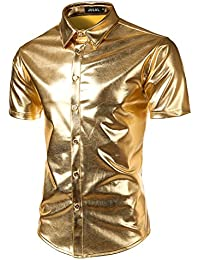 2fe6ddf8c345a8 JOGAL Mens Metallic Shiny Nightclub Styles Short Sleeves Button Down Dress  Shirts