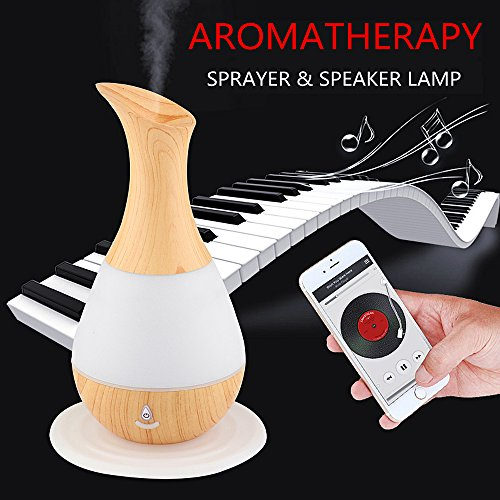 ELINKUME Fragrance speaker Lamp, wireless Bluetooth music lamp nebulizer Humidifier oils diffuser with colorful dimming, silent anti-dry burn design