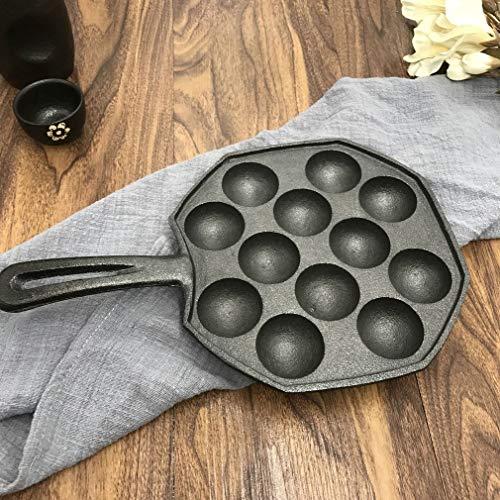 creatspaceE 12 Löcher leicht zu reinigen DIY Takoyaki Pfanne Octopus Baking Maker Grill Form Brennplatte Küche Kochen Werkzeug schwarz