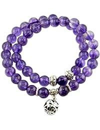 Bracelet pierre - Améthyste 8mm 36cm - Bijou en pierre naturelle - Perles -  Violet - Iris - Cadeau Femme pas cher… 6ddd536c9470