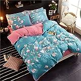 AZSUR Vier Stück Baumwolle bedeckt Bettdecke, Reine Baumwolle Korallen Haufen Bettwäsche, Herbst und Winter Warmes Bett Gesetzt, 1,5 * 2,0 m, Blume Bedeutung