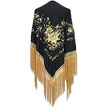 La Señorita Mantones bordados Flamenco Manton de Manila Grande negro oro 151949a814b