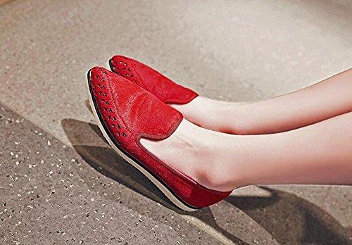 Beauqueen Flat Suede Obere Crocs Spitz-Toe Einfache Frauen arbeiten Freizeitschuhe EU Größe 34-39 Red