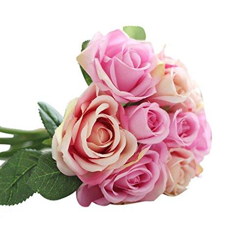 Longra Wohnaccessoires & Deko Kunstblumen Künstliche Seide Kunstblumen 9 Köpfe Blatt Hochzeit Blumen Dekor Bouquet Rose (pink)