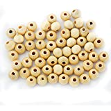 Imported 100Pcs Natural Plain Round Wooden Bead With Hole Ball for DIY Craft Findings