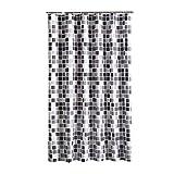 HuaForCity Tenda Doccia 200x240cm(Larghezza x Altezza) Grande Impermeabile Anti-Muffa Poliestere Elegante Tenda da Bagno Accessori da Bagno Vasca con Fibbie/Ganci Motivo di Mosaico