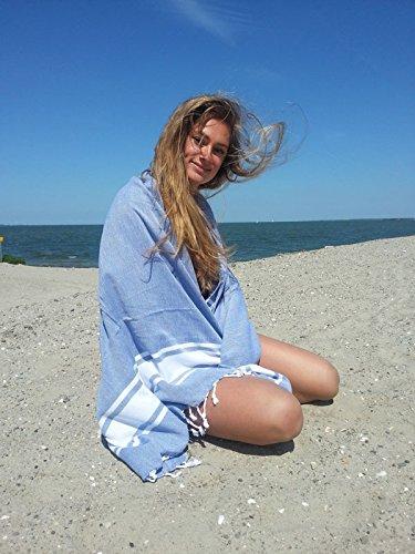 Hamamtuch XL 'Sol' | extra lang | 100x200 cm | Hamam Badetuch, Strandtuch oder Saunatuch | 100% Baumwolle, handgewebt, Hochwertige Qualität | Exklusives Design von Zusenzomer (100x200, Blau) (Damen-frottee-liege)