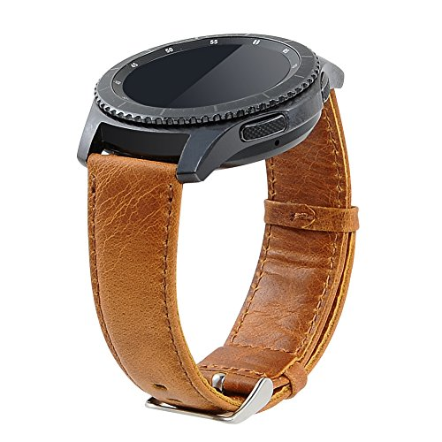 Preisvergleich Produktbild Armband für Gear S3 Frontier/Classic, 22mm Leder Armband Echtes Leder Uhrenarmbänder für Gear S3 Frontier/ Classic Smartwatch SM-R760 (Braun, L)