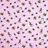 SCHÖNER LEBEN. Baumwollstoff Bienen Blumen rosa weiß gelb