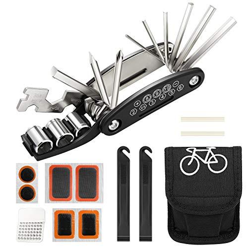 Homealexa Fahrradwerkzeug Praktisches Fahrrad Werkzeug- und Reparatur Set - Flickzeug mit 14-in-1 Multitool, Aufbewahrungstasche - Fahrradflickzeug - Reparaturset - Reifenflickzeug