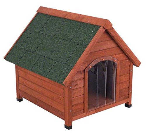 4Seasons de madera de pino-Caseta de perro ideal para perros que vivir fuera TODO EL AÑO y necesidad de protección contra el viento, Sun, la lluvia...