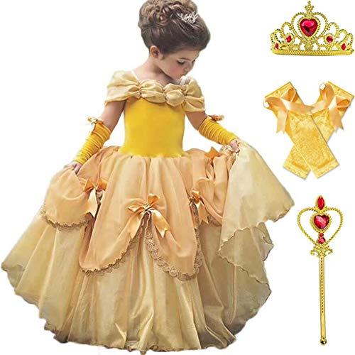 DMMDHR Halloween Baby Mädchen Schönheit und das Biest Kostüm Tüll Kinder Prinzessin Belle Party Kleid Halloween Geburtstag Mädchen Kleid Kleidung Sommer Kleid, 5 STÜCKE Kleid Set, - Mädchen Belle Of The Ball Kostüm