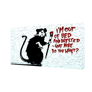 ARTSPRINTS BANKSY I AM OUT OF BED PRINT ON FRAMED CANVAS WALL ART 16'' x 12'' inch -18mm depth