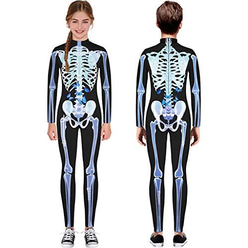 TIREOW Langarm Skelett Kostüm, Teen Kinder Mädchen Jungen Halloween Cartoon Skull Print Strampler Jumpsuit Kleidung Overall (XL, Weiß)