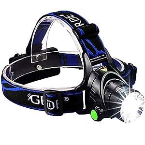 GRDE {EU Standard Lampe Frontale Zoom Headlight Puissante avec Lampe UV Torche et Chargeurs Accessoires pour Cyclisme,Camping,Randonne,Chasse de Nuit,Lire, Sport et Loisir