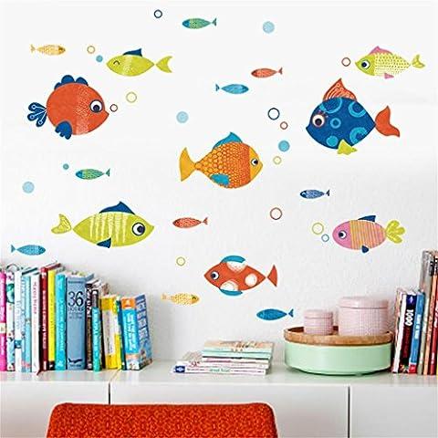 DELLT- Mignon Enfants Chambre Chambre Murs Autocollants Colorés Petit Poisson Stickers Muraux Salle De Bain Décoration Stickers