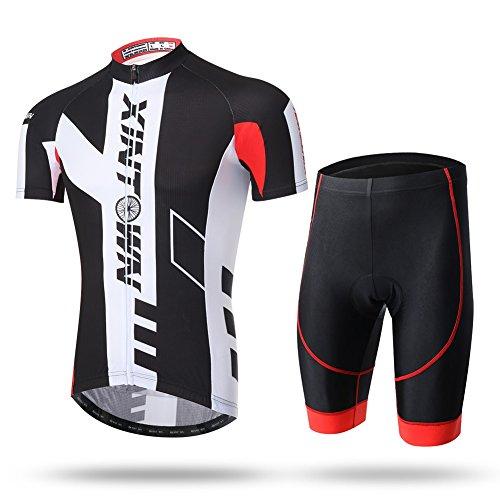 Unkoo Herren Kurzarm atmungsaktiv Radtrikot Mountainbike MTB-Shirt Radsport-Oberteile Rennrad-Kleidung Herren Fahrradoberteil Atmungsaktiv Weiß Herren-Trikots für den Sommer im Freien