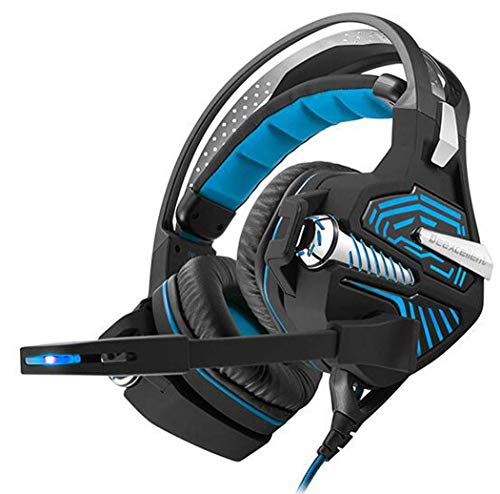 CY&Y Kabelgebundener USB 7,1-Channel Surround Sound Stereo Gaming Headset, PC Headset Gaming Headset mit Mikrofon-Geräusch Minderungs Kontrolle und LED-Leuchten,Blue