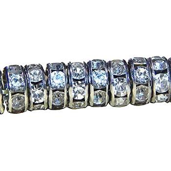 50 Glas Strass Rondell Spacer Metallperlen 8mm Silber KLAR Crystal PERLEN Strasssteine R25A