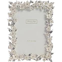 Addison Ross Ltd - Cornice con fiori e foglie smaltati in argento e pietre incastonate, ideale per foto nozze, 12 x 18 cm, colore: Panna, nichel;argento;pietre