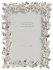 Idea Regalo - Addison Ross Ltd - Cornice con fiori e foglie smaltati in argento e pietre incastonate, ideale per foto nozze, 12 x 18 cm, colore: Panna