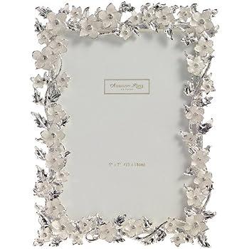 Addison Ross Ltd - Cornice con fiori e foglie smaltati in argento e pietre incastonate, ideale per foto nozze, 12 x 18 cm, colore: Panna