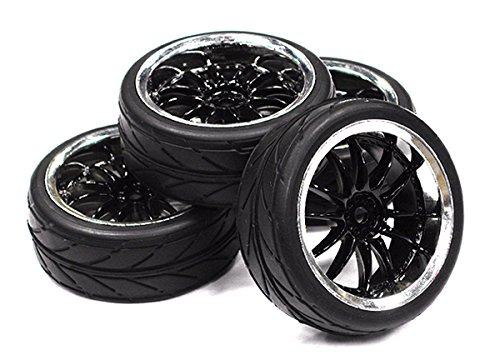 INTEGY RC Model Hop-ups c23442black Dual 6 Spoke Complete Wheel & Tire Set (4) for 1/10 Touring Car