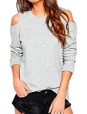 Kerlana T-Shirt Donna Slim Fit Stampa Collo Rotondo Manica Lunga Puro Colore Camicia Senza Spalline Maglietta...