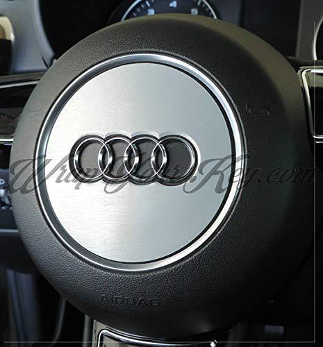 Alluminio Spazzolato Airbag Volante Telo Copertura Skin Adesiva 3M 1080 Pellicola in Vinile per Audi A1, A2, A3, A4, A5, A6, A7, A8, Tt, Q2, Q3, Q5, Q7, Rs, S-LINE, Quattro