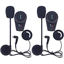 Fodsports 2 piezas moto BT Intercom Bluetooth Multi moto intercomunicador impermeable casco 500M