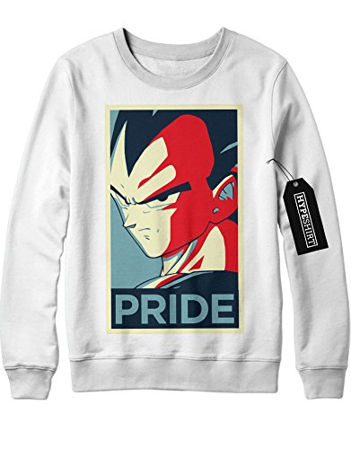 Sweatshirt Vegeta PRIDE Dragon Ball Z GT Super Son Goku Trunks Gohan C980003 Weiß (Son Gohan Kind Kostüm)