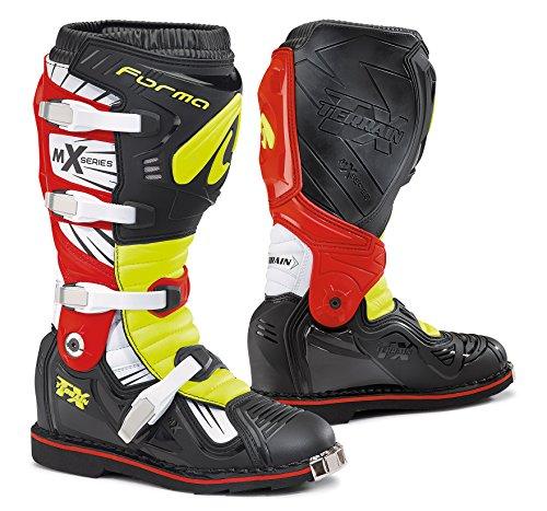 FORMA Stivali da Moto Strada TX Omologata CE, Nero/Giallo Fluo/Rosso, 45