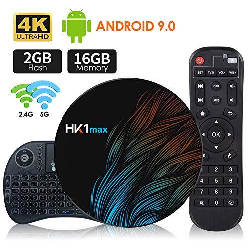 Boîtier TV Android 9.0 [2G + 16G] avec Mini-Clavier sans Fil, boîtier sous Android 64 Bits RK3318 à processeur Quad Core Chip, Wi-FI Double 5G / 2.4G, BT 4.0, UHD H.265 4K * 2K, Smart TV Box