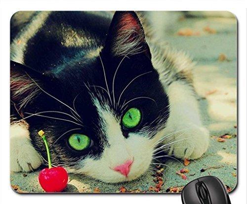 S Green Eyed Cat Mauspad, Mousepad (Katzen Mauspad) (Eyed Green Katze)
