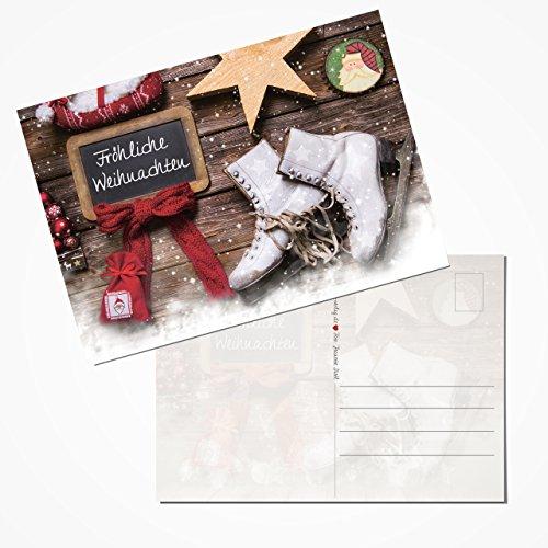 100 Stück Weihnachtspostkarten Set Postkarten rot weiß braun mit Text FRÖHLICHE WEIHNACHTEN Schlitt-Schuhe Nostalgie Vintage 14,8 x 10,5 cm Karten 2018