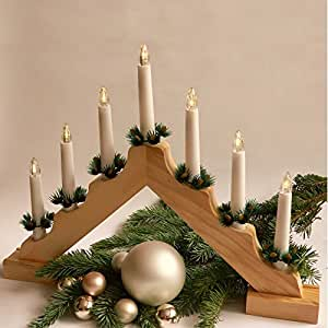 Bougeoir chandelier de no l en bois 7 bougies led for Decoration de noel amazon