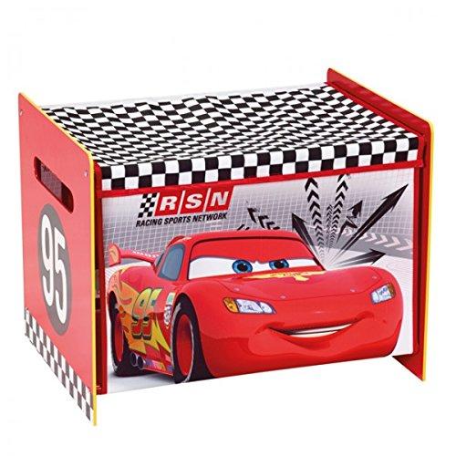 Unbekannt Disney Cars Lightning McQueen Toy Box Spielzeugkiste Aufbewahrung Kinderzimmer Spielzeug Holz +Canvas