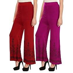 Haniya Free Size Combo of Printed Viscose Palazzos for Women (Red & Magenta)