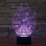 OBQ 3D optische Täuschung Millennium Falcon Lighting-Dekor-Lampe