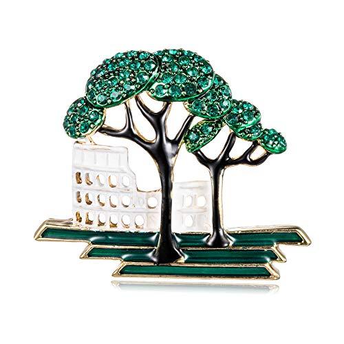 Yazilind Frauen Baum, Gebäude Broschen süße Pflanze Anstecknadeln Abzeichen Schmuck Geschenke für Schal, Krawatte, Hut, Mantel oder Tasche
