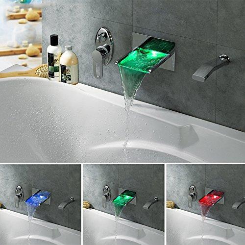 GAO® Wasserhahn in die Wand des Pull-Stil Dusche Waschbecken Dusche Zimmer Hotel Chrom Chrom LED-Leuchten Licht emittierende Wasserfall heißen und kalten Wasserhahn Outdoor-rohr-isolierung, Abdeckung