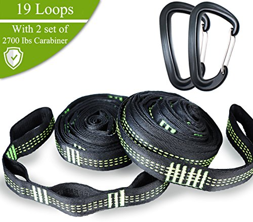 TRAVEL MAKER Hängematte Band mit 2 Verschlusskarabiner -Kombinierte 2200 Ib Bruchfestigkeit Hochleistungs-Polyester-Gurtband für Camping Hängematten (Grün)